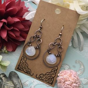 Rainbow moonstone wire wrapped dangle earrings